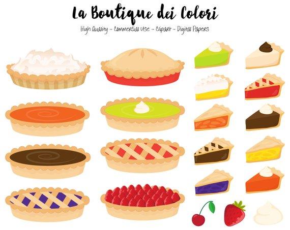 Pie Clipart, Cute Graphics PNG, Pumpkin pie, strawberry pie.
