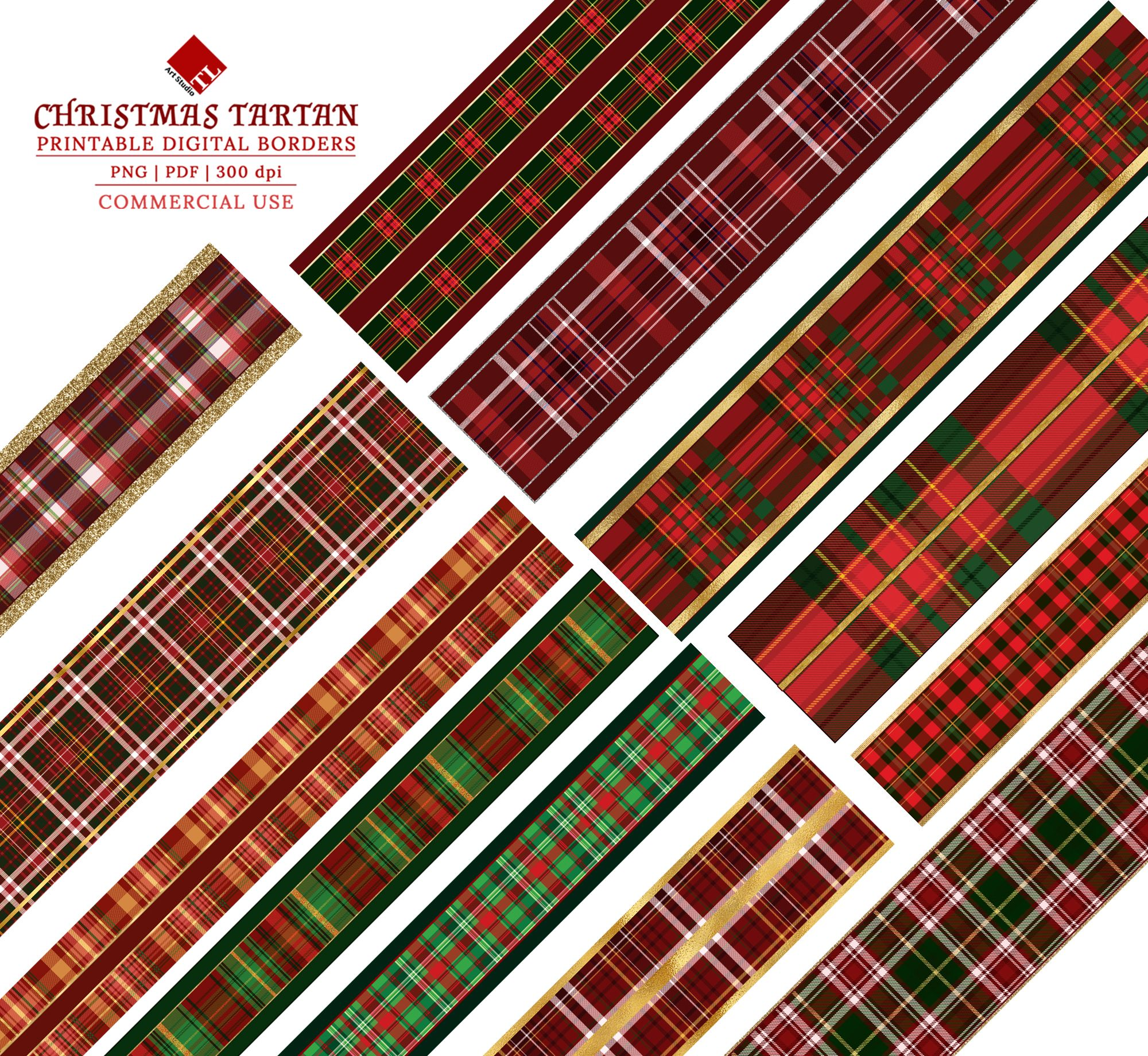 Digital Christmas Borders,Christmas Tartan Border Clipart.