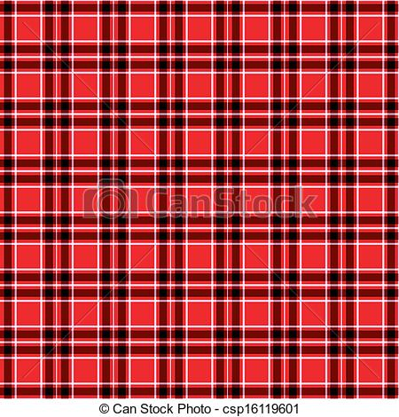 Vector Clipart of Seamless Red tartan pattern vector.