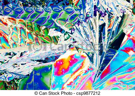 Stock Photo of Tartaric acid crystals in polarized light.