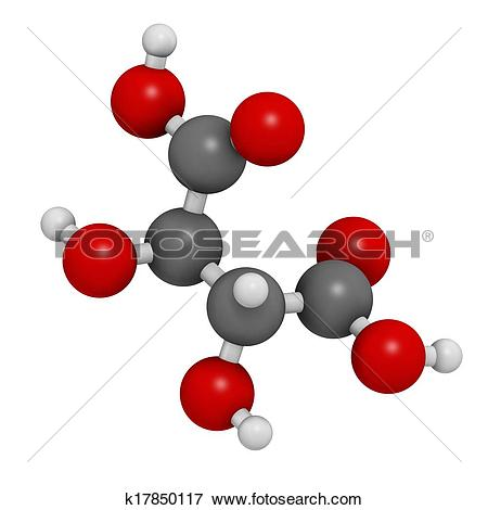 Stock Illustration of Tartaric acid (dextrotartaric acid) molecule.