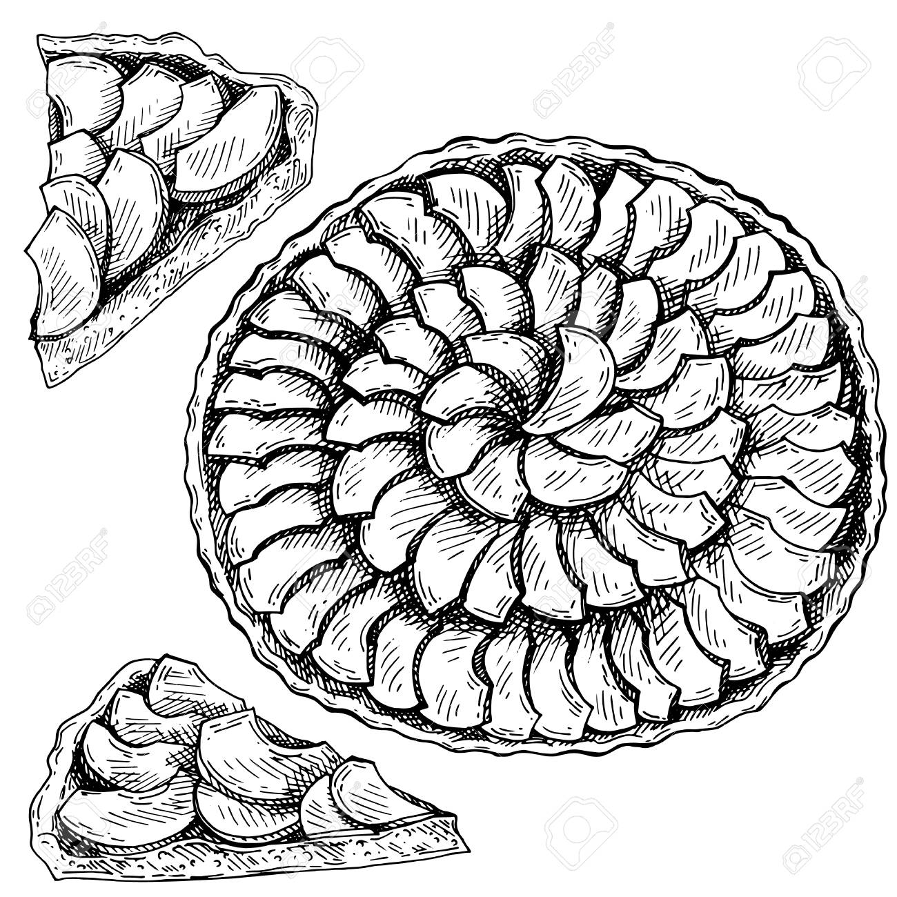 Apple Pie Clipart Black And White.