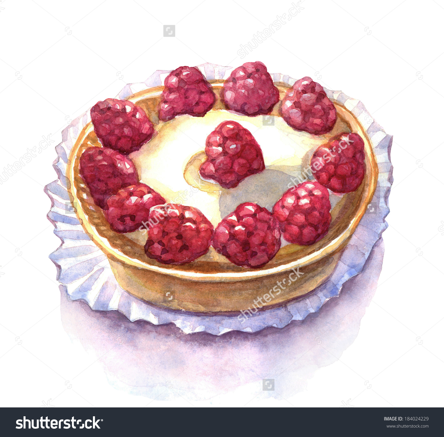 Raspberry Tart Watercolor Illustration Stock Illustration.
