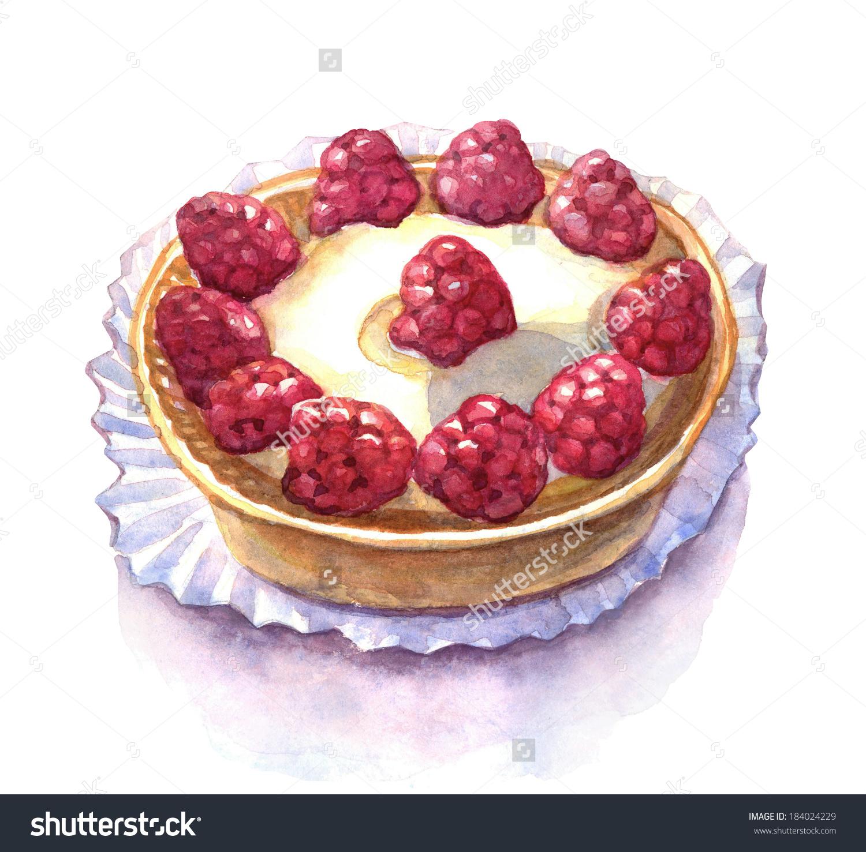 Raspberry Tart Watercolor Illustration Stock Illustration.