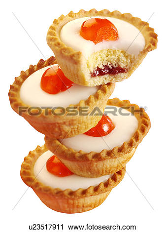 Stock Photography of Cherry Bakewell Tarts Cut Out u23517911.