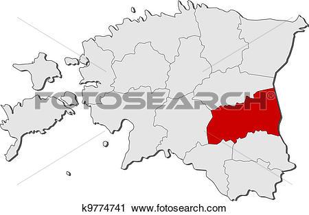 Clipart of Map of Estonia, Tartu highlighted k9774741.