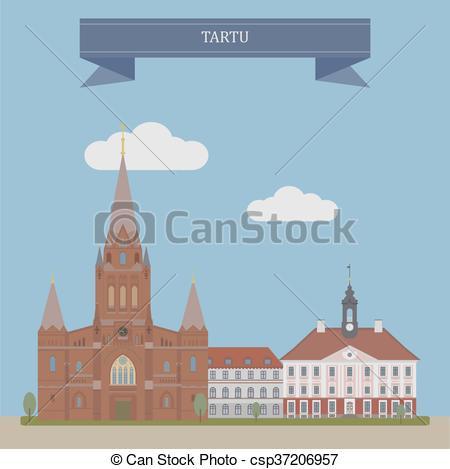 Clipart Vector of Tartu, Estonia.