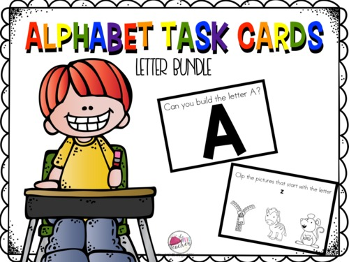 Alphabet Task Cards in Action.