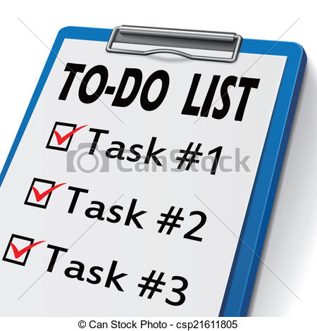 Clipart of To Do List Notepad Words Organize Prioritize Jobs Tasks.