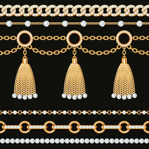 Set of golden metallic chain borders with gemstones and.