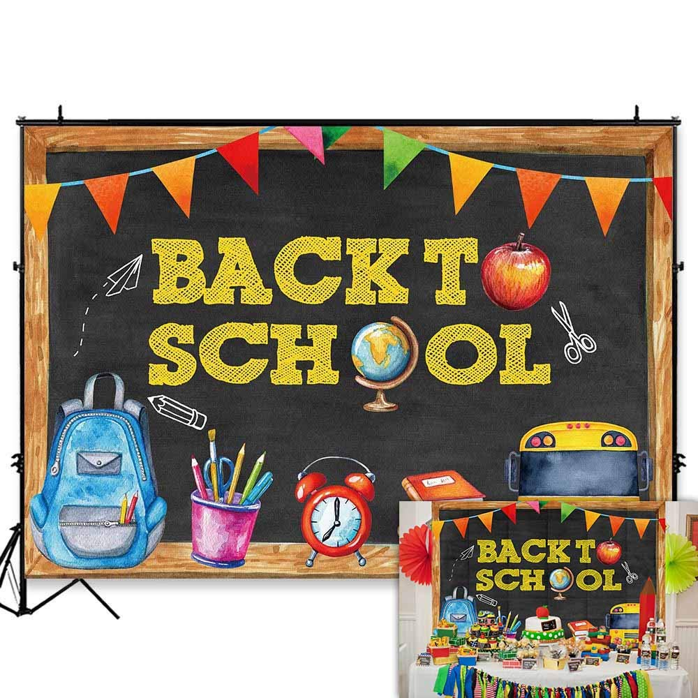Funnytree 7x5FT Back to School Photography Backdrop Blackboard for Kids  Party Banner School Bus Pencil Chalkboard Learning Photo Backgrond  Photocall.
