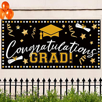 71\'\'x36\'\' Large Fabric Graduation Party Banner for Graduation Party  Supplies, Graduation Decorations Photo Prop, Booth Backdrop, Indoor,Outdoor.