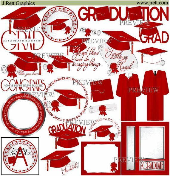 Red Silver Graduation clipart, MORE COLORS, cap tassel clip.
