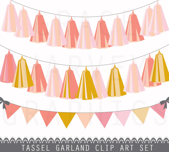 Tassel Garland and Bunting Banner Clip Art, INSTANT download EPS.