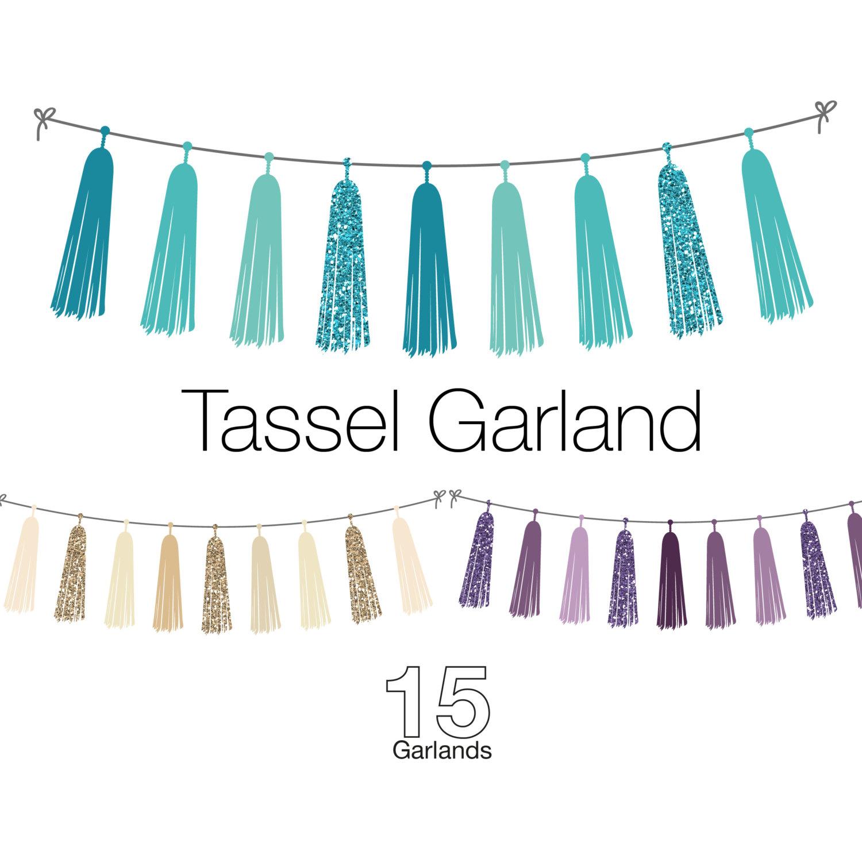 Glitter Tassel Garland Clip Art graphic design.