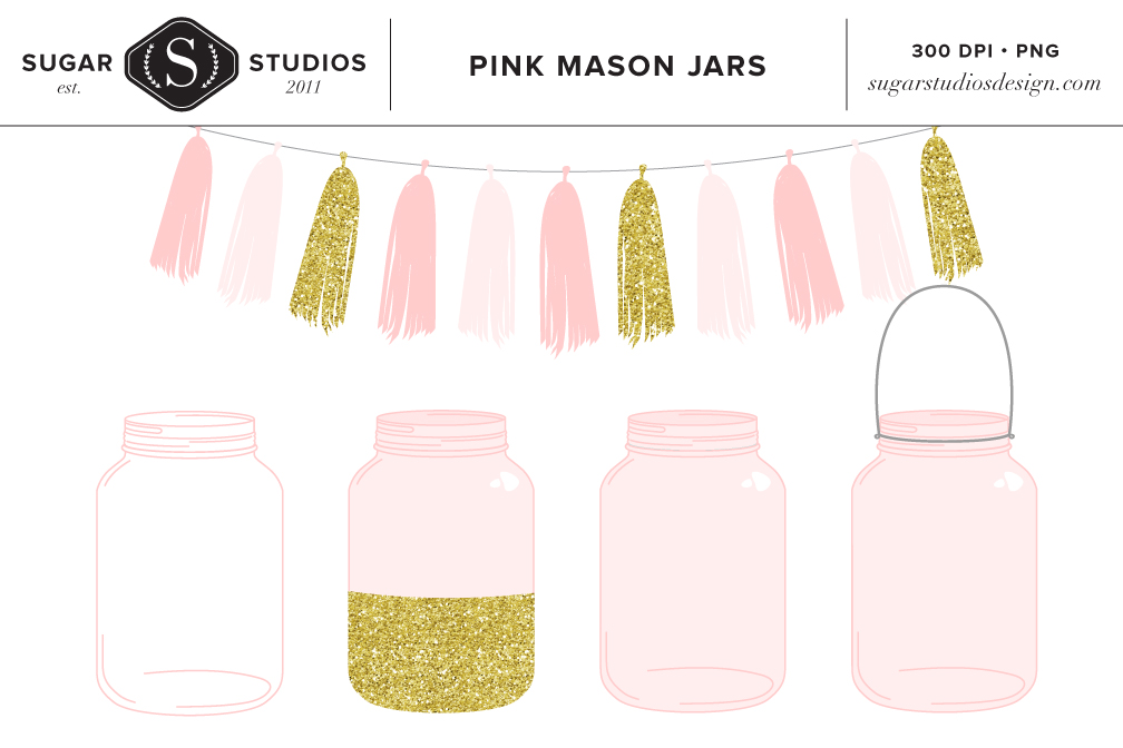 Pink Mason Jars with Tassel Clip Art.