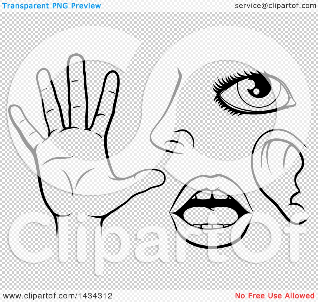 Clipart of Black and White Icons of the Five Senses, Sight, Smell.