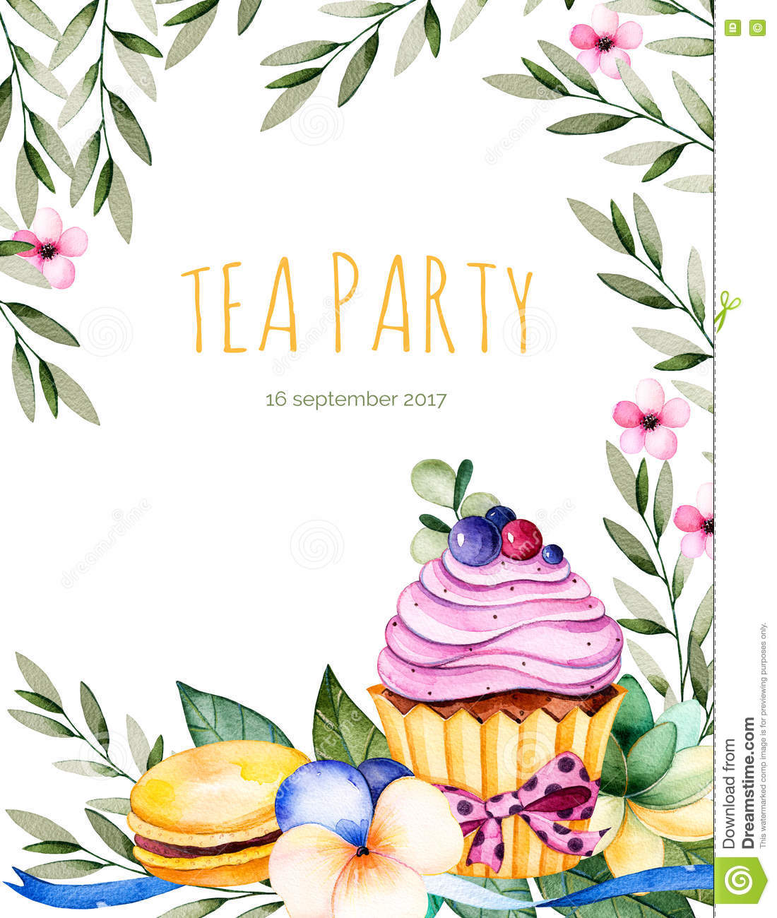 Beautiful Watercolor Invitation With Tasty Cupcakes,succulent.