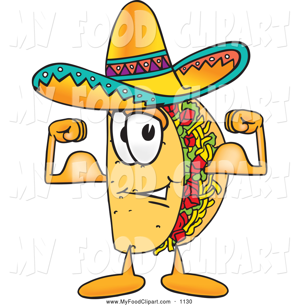 Food Clip Art of a Friendly Tasty Taco Mascot Cartoon Character.