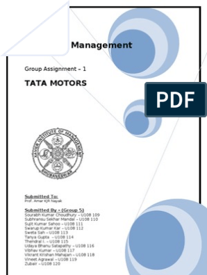 Strategic Management short Project for Tata Motors.