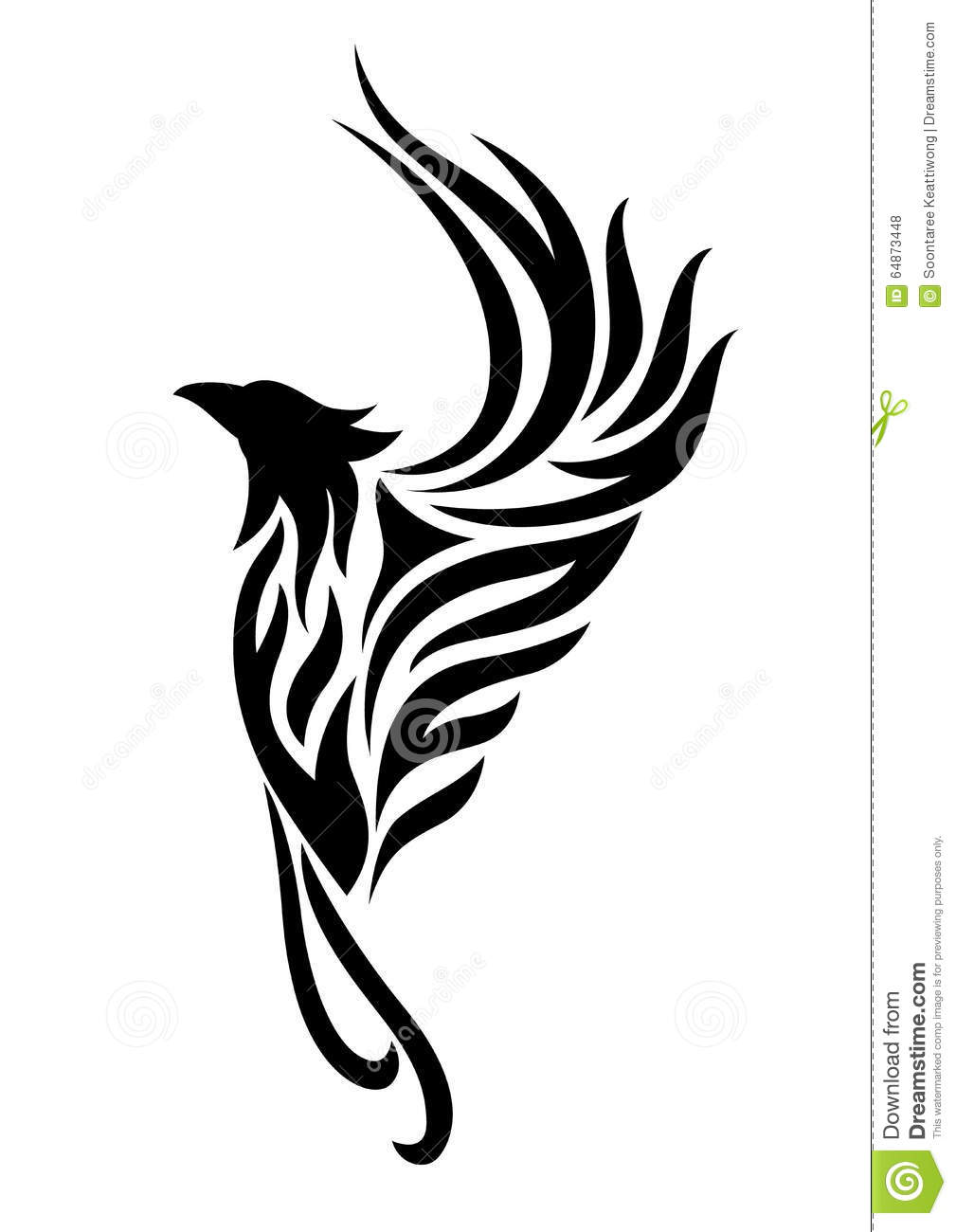Phoenix Tattoo Clipart Stock Illustration.