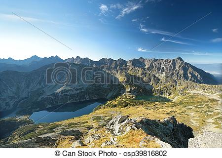 Stock Photography of High Tatra Mountains seen from Kozi Wierch.