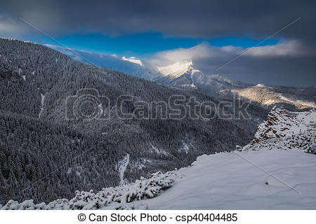 Pictures of Cold dawn in Tatra Mountains at winter, Poland.