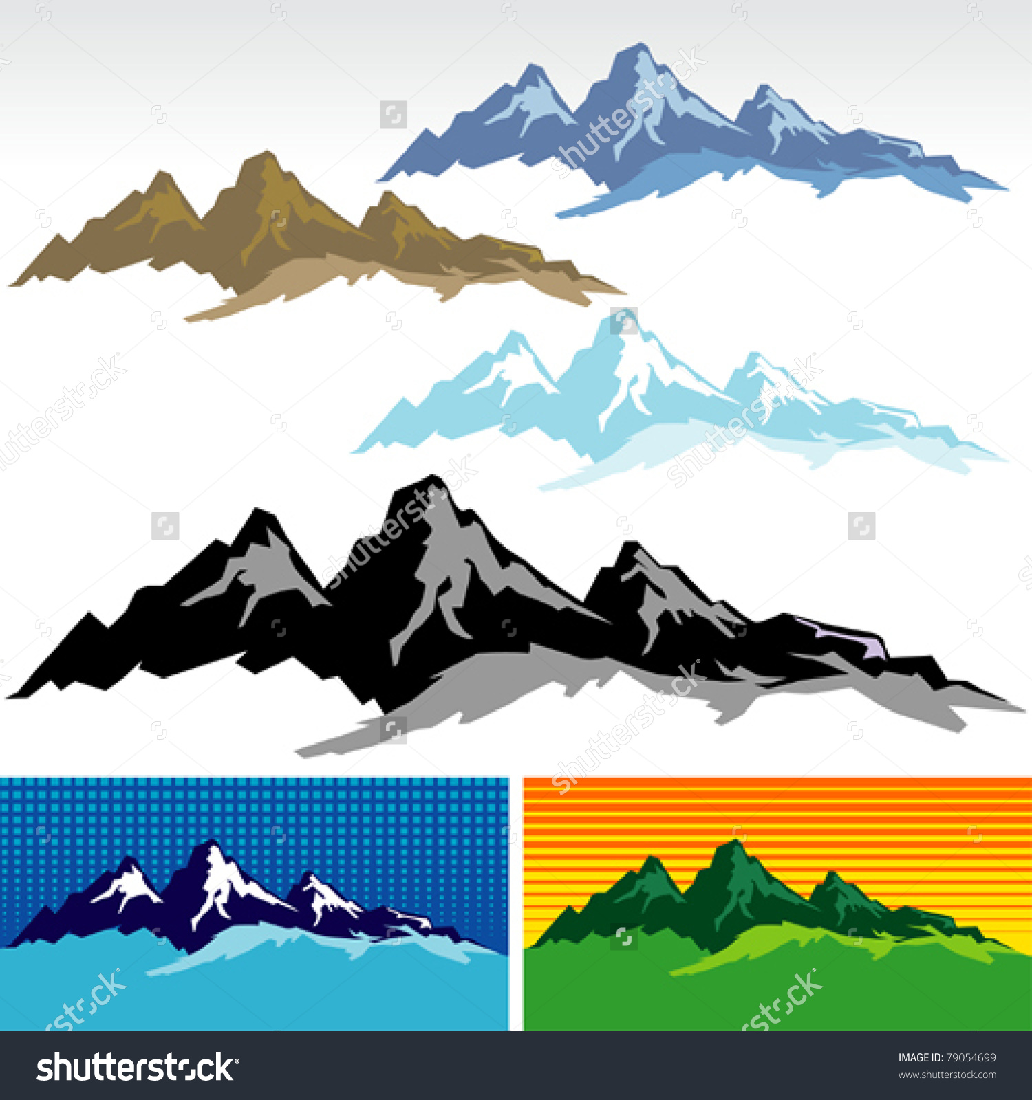 Snowy mountains Clip Art Vector and Illustration 2630