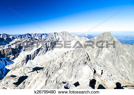 Stock Photography of view from Lomnicky Peak, Vysoke Tatry (High.