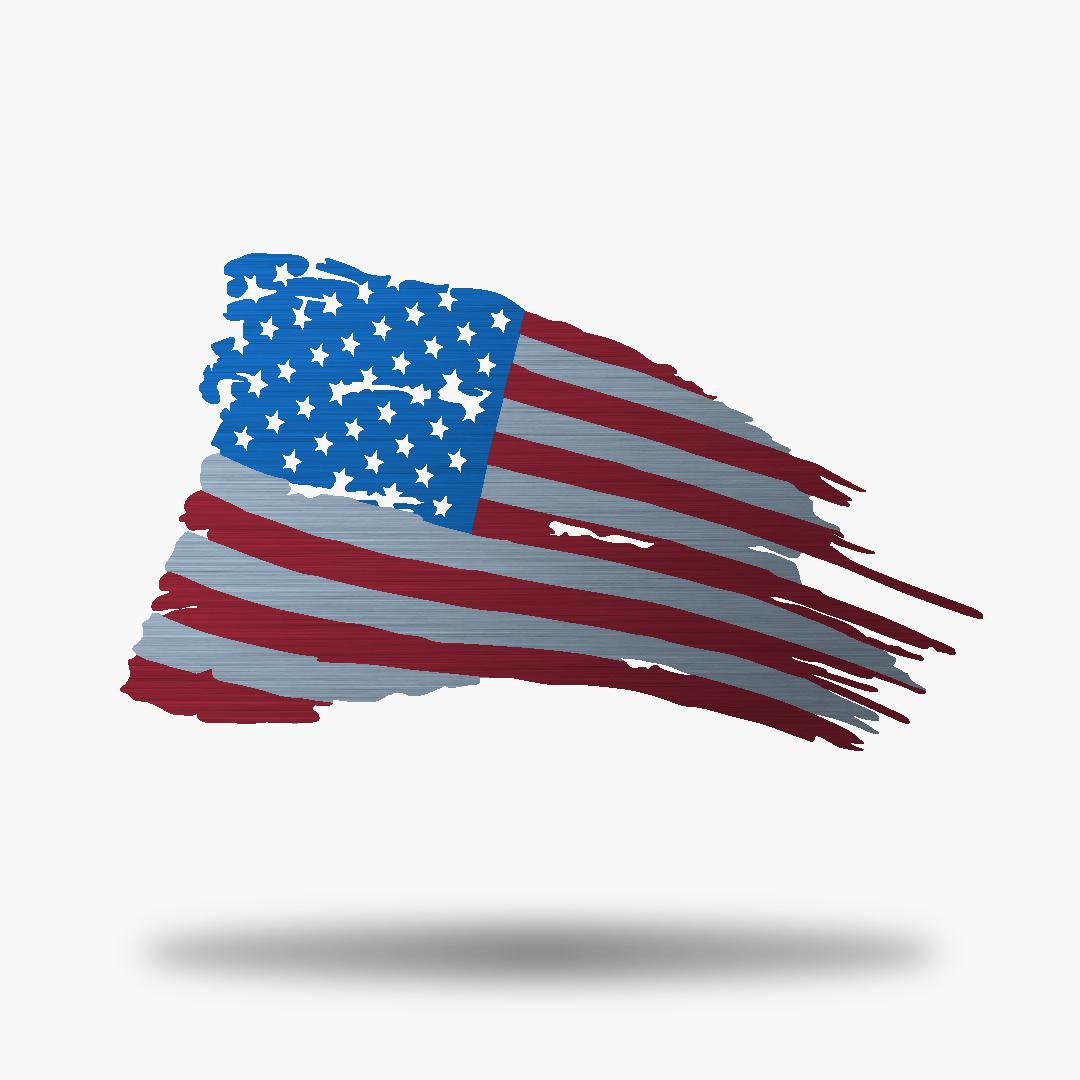 Tattered US Flag.