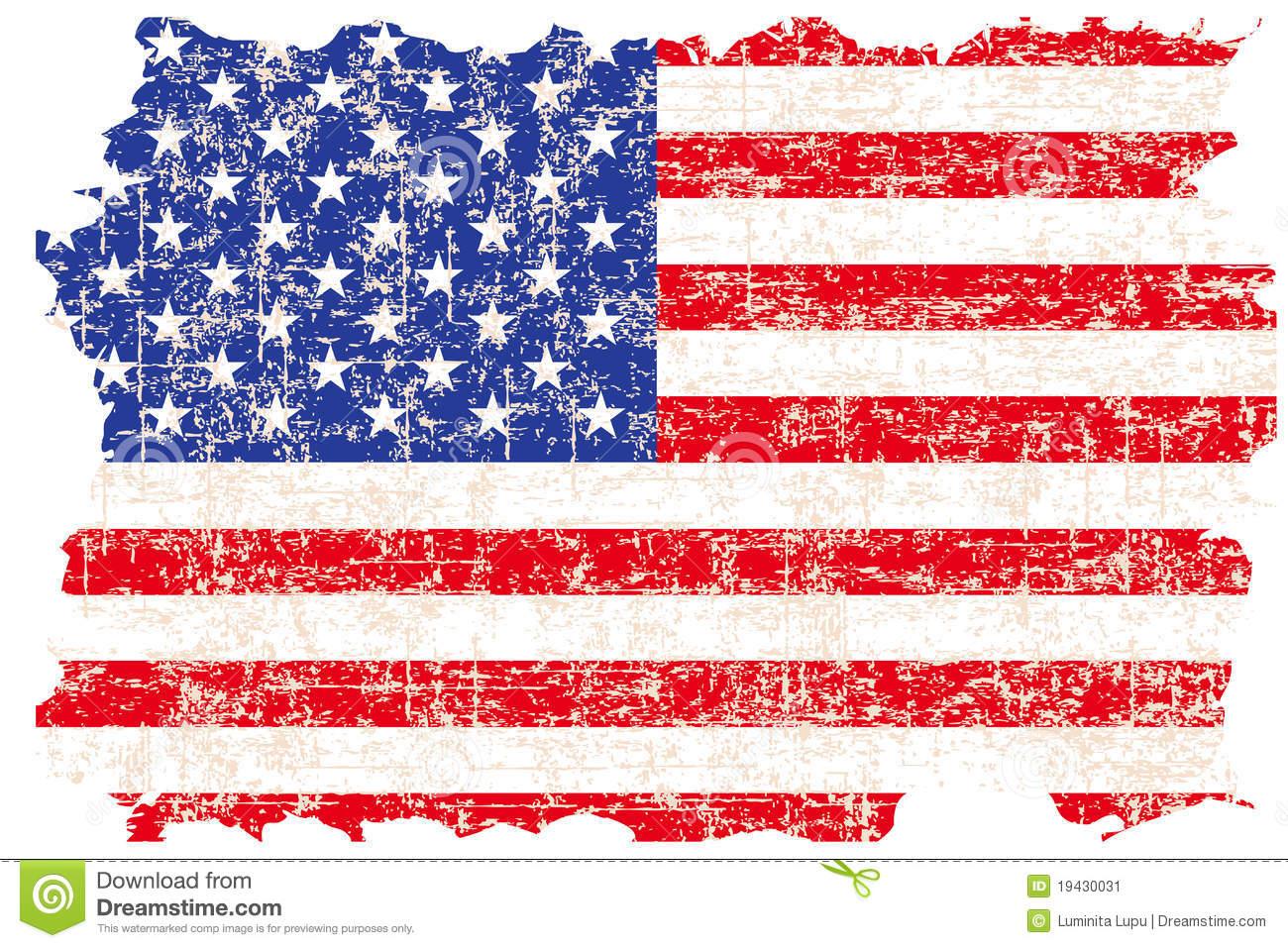 Tattered American Flag Clip Art.