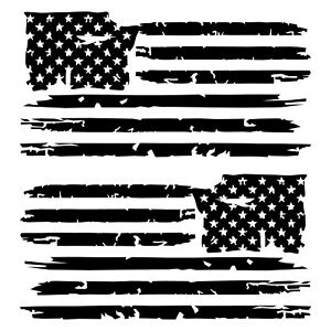 Details about Set of 2 Black Distressed Tattered USA American Flag Decal  Stickers.
