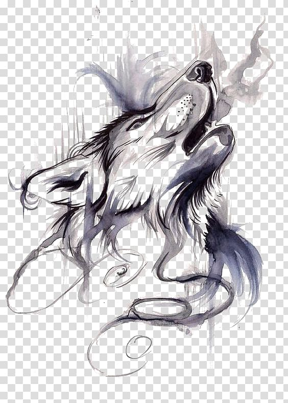 Gray wolf Tattoo ink Flash Drawing, Wolf, gray and black.