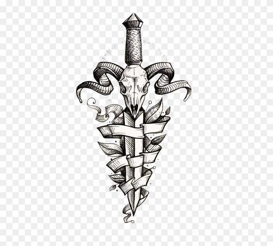 Decorative Tattoo Dagger Sleeve Painted Flash Hand Clipart.