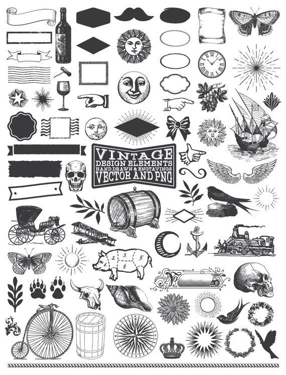 Hand Drawn Illustration Clipart Pack.