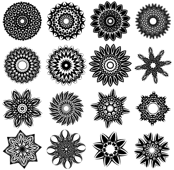 Free Tribal Flower Tattoo Designs Vector.