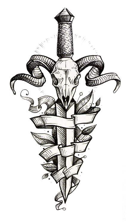 Download Decorative Tattoo Dagger Sleeve Painted Flash Hand.