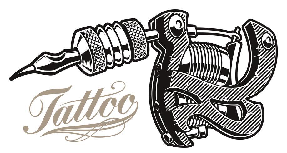 Vector illustration of a tattoo machine.