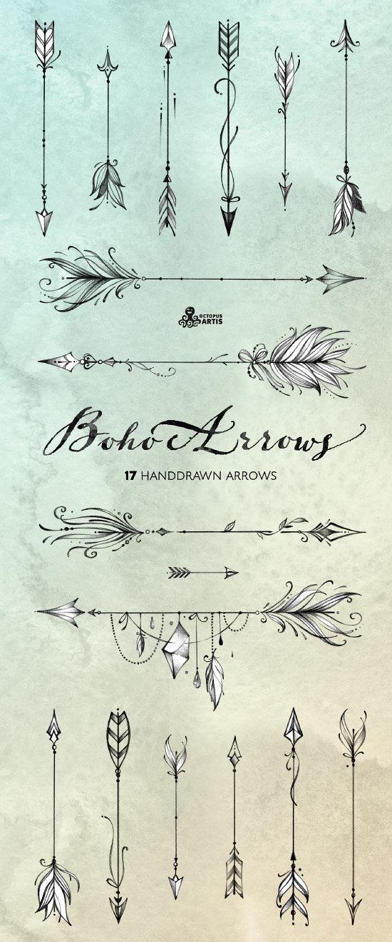 Boho Arrows. 17 hand drawn Clipart. Tribal, native diy.