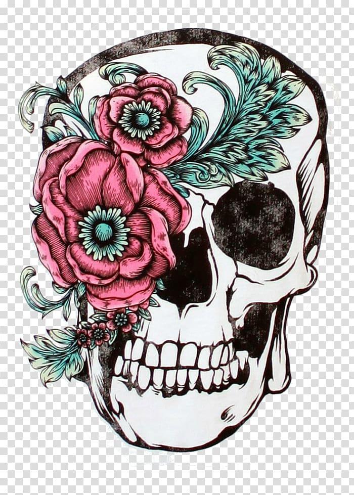 Multicolored sugar skull illustration, Skull Calavera Sleeve.