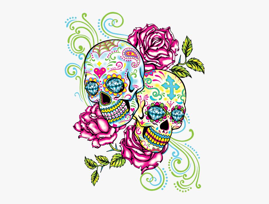 Two Skulls Roses Neon Tattoo Pinterest.