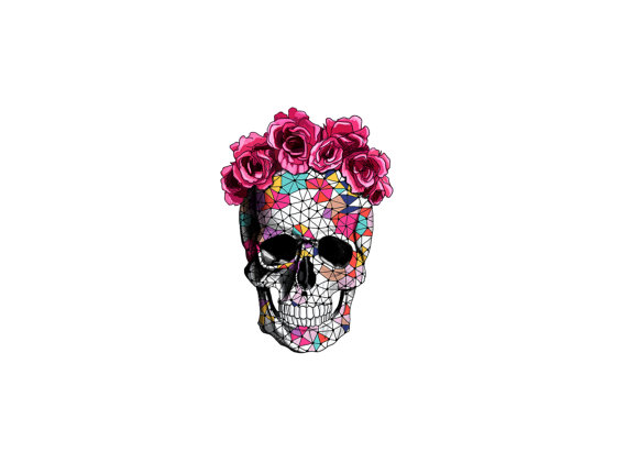 geometrics sugar skull with rose floral crown temporary.