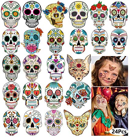 Day of the Dead Sugar Skull Tattoos Halloween Temporary Face Tattoos for  Women Men Adults Kids Boys Girls Mexican Halloween Party Favor Supplies  Black.