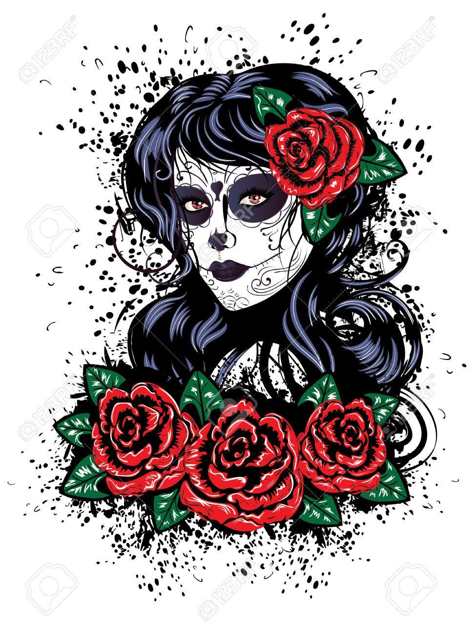Sugar Skull clipart rose #6.