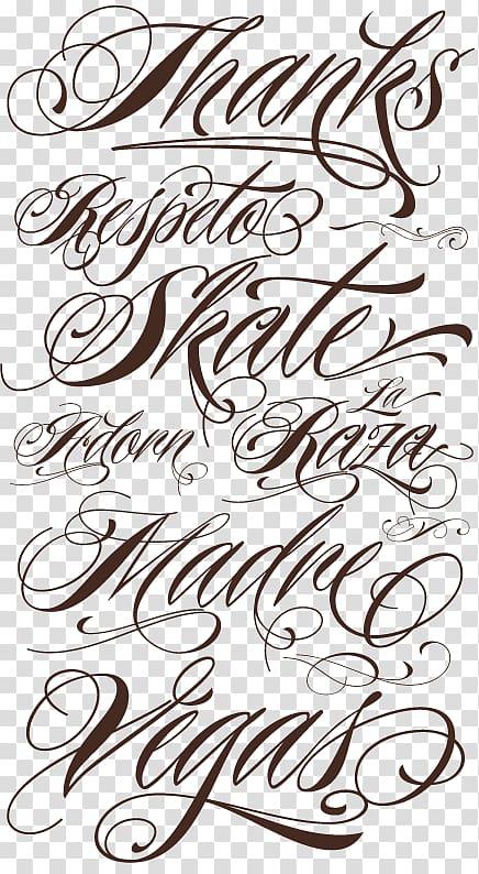 Lettering Cursive Script typeface Tattoo Font, others.