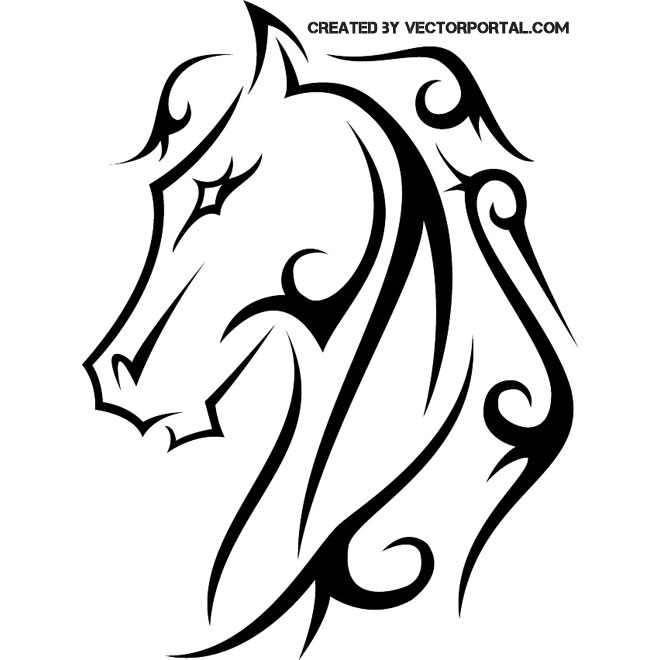 Horse tattoo clip art.
