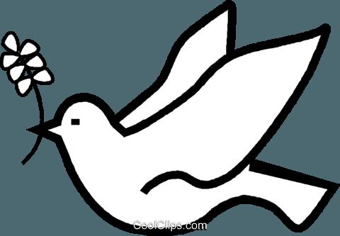 Taube mit einem Olivenzweig im Mund Vektor Clipart Bild.