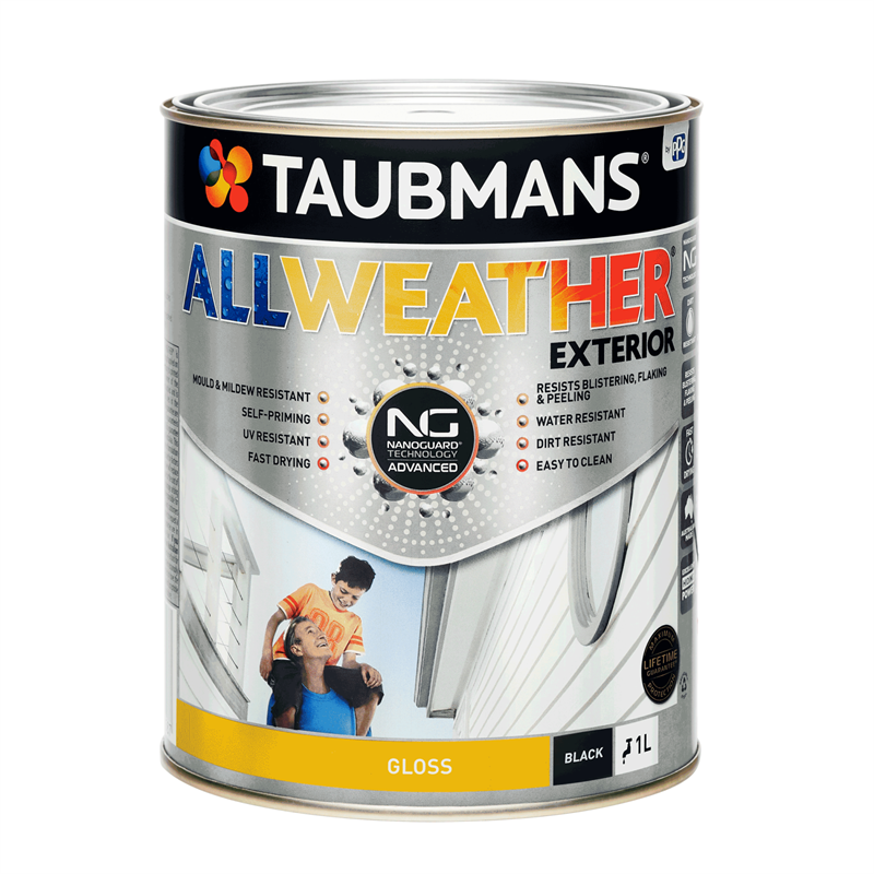 Taubmans All Weather Gloss Black Exterior Paint.