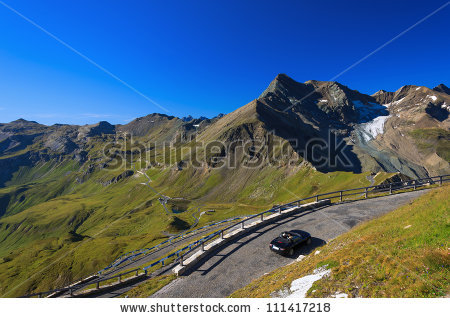 Cabrio Car On Mountain Road At Hochalpenstrasse, Hohe Tauern.