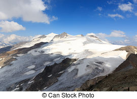 Stock Photographs of Mountain glacier panorama with summit.